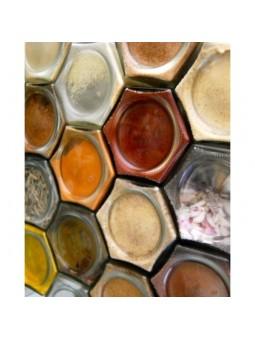 Pot épices et thé hexagonal décos alvéoles