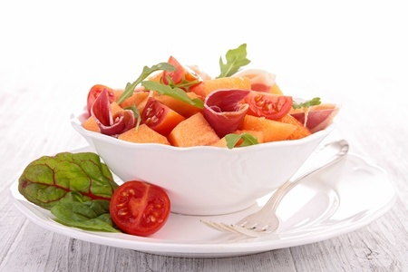 salade de melon jambon fumé fromage italien